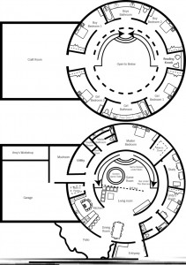 Floor plan of a proposed monolithic dome home